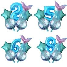 6 pcs/lot arc-en-ciel sirène queue feuille ballons avec numéro bleu hélium ballon bébé fille fête danniversaire décorations de mariage Globos