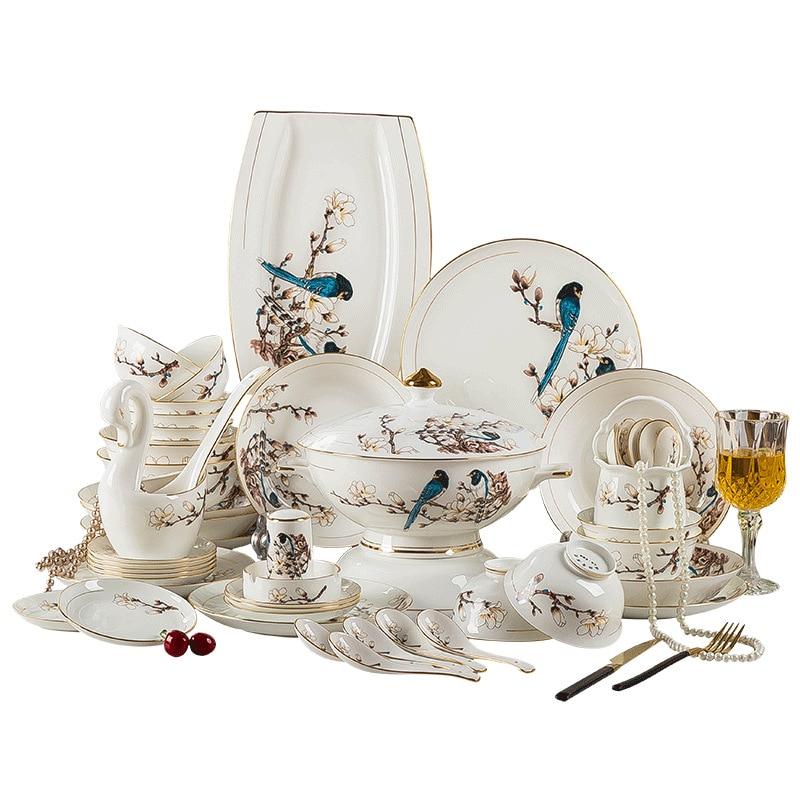 Jingdezhen العظام الصين 60 أطباق المائدة رسمت طقم أطباق الذهب المنزلية مشرق الأوروبي هدية