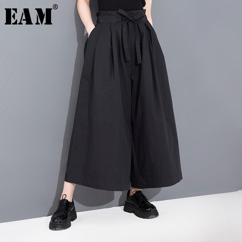 [EAM] Pantalón largo de pierna ancha plisado negro de cintura alta nuevos pantalones sueltos para mujer moda Primavera Verano 2020 1B20801