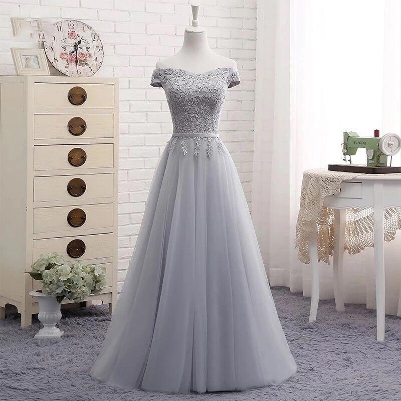 Элегантное платье подружки невесты с открытыми плечами из тюля с аппликацией реальные фотографии дешево