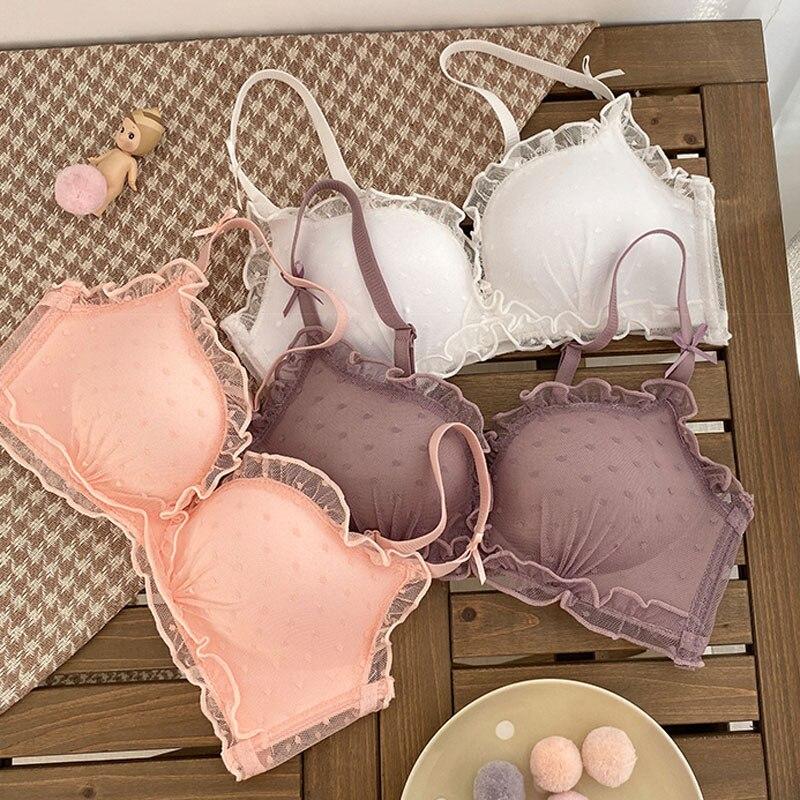 Wasteheart Primavera, nuevo, de mujeres, de moda rosa púrpura encaje Bralette sin aros bragas conjuntos de sujetadores con aumento ropa interior conjuntos de ropa interior Sexy