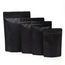 Sacs demballage à fermeture éclair   Épaisseur 26C, noir blanc mat mat, sacs demballage en aluminium, sac alimentaire en plastique, pochette avec fermeture éclair