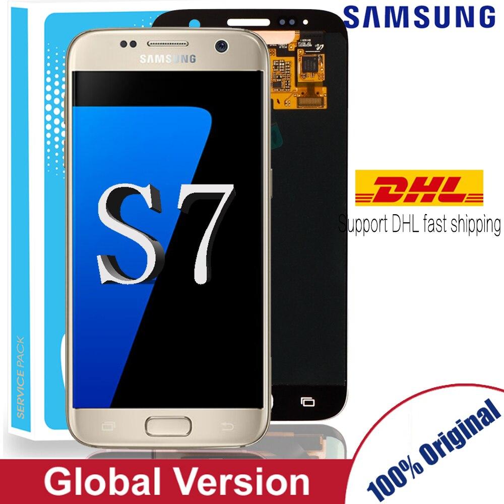 Aaa original 5.1 lcd lcd lcd substituição para samsung galaxy s7 display g930 g930f assembléia digitador da tela de toque com quadro