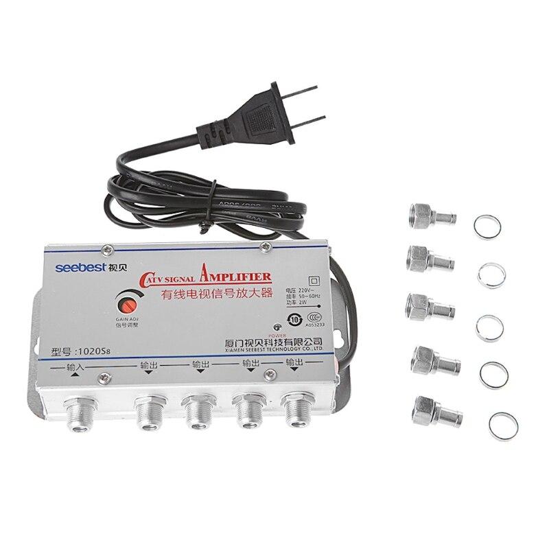 1 комплект Новый американский штекер 4Way CATV VCR ТВ антенна усилитель сигнала 20 дБ высокое качество Catv усилитель сплиттер 45-860 МГц ТВ антенна 220 В