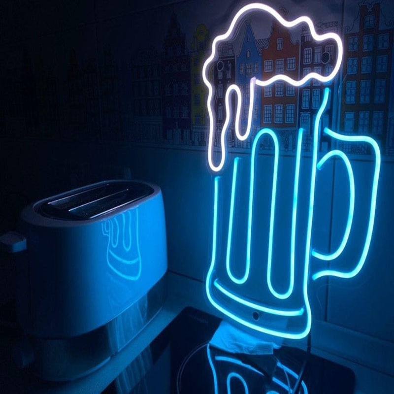 OHANEONK BEER GLASS Neon Sign Light for Store Resturanut Bar Nightclub Party Decoration Logo Name Personalized enlarge
