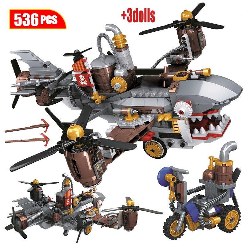 Creador de ciudades, era de vapor, serie Shark Airship, bloques de construcción, helicóptero militar, figuras, ladrillos, juguetes para niños, regalo