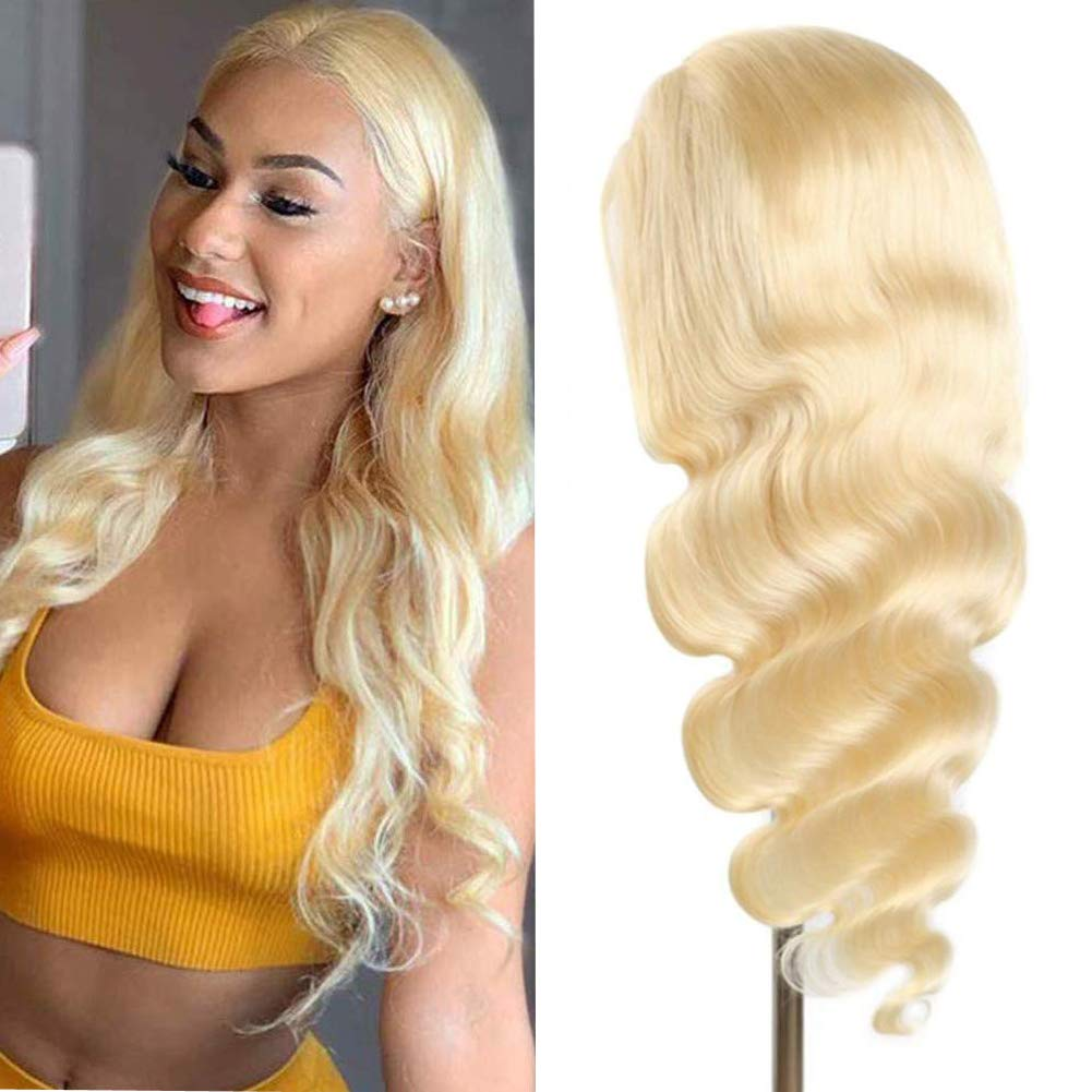 613 Blonde Body Wave Human Hair Wigs Brazilian Remy hair Pre Plucked Lace Wigs Fake Scalp PU silk base Lace Front Human Hair Wig