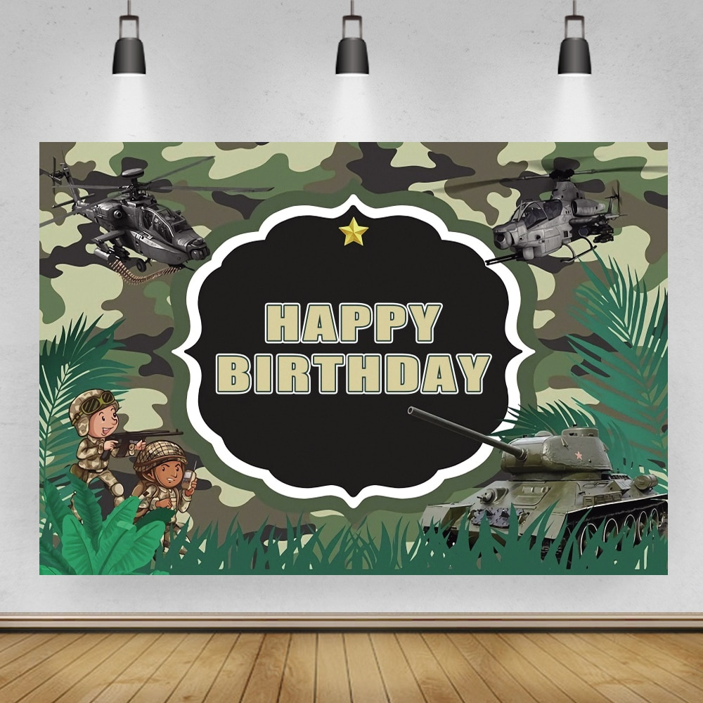 Camo Forest Cartoon Army Military Exercise Theme Backgrounds Boy Birthday Party Decor Helicopter Tank Photography Backdrops