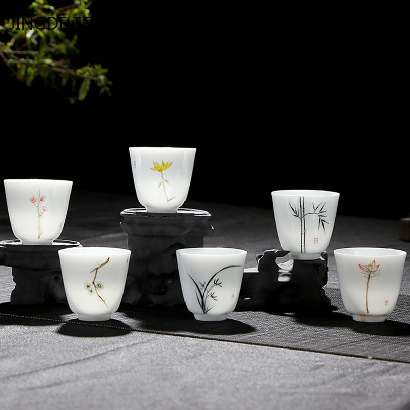 4 قطعة/الوحدة جينغدتشن اليدوية السيراميك فنجان القهوة كوب اليد رسمت بوتيك الشاي عاء الصينية الخزف الشاي مجموعة اكسسوارات