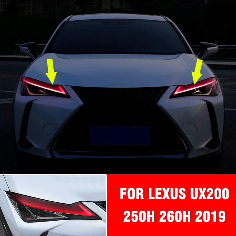 Pcmos frente vermelha farol sobrancelha pálpebra capa adesivo para lexus ux200 250h 260h 2019 acessórios exteriores luz guarnição moldando