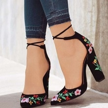 Women High Heels Embroidery Pumps Flower Ankle Strap Shoes Female Two Piece Sexy Party Wedding Point
