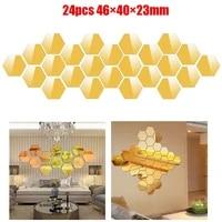 24 pieces 3D miroir hexagone Stickers muraux vinyle amovible decalcomanie decor a la maison Art carrelage miroir autocollant mur miroir Stickers maison deco