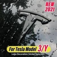 3pcsset steering wheel front trunk rear trunk logo sticker car logo cover abs carbon fiber sticker for tesla model 3y 2021