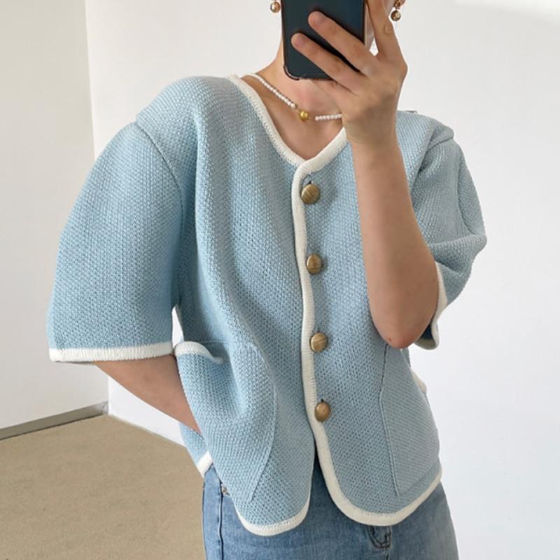women summer v-neck  knitting short coat3135#