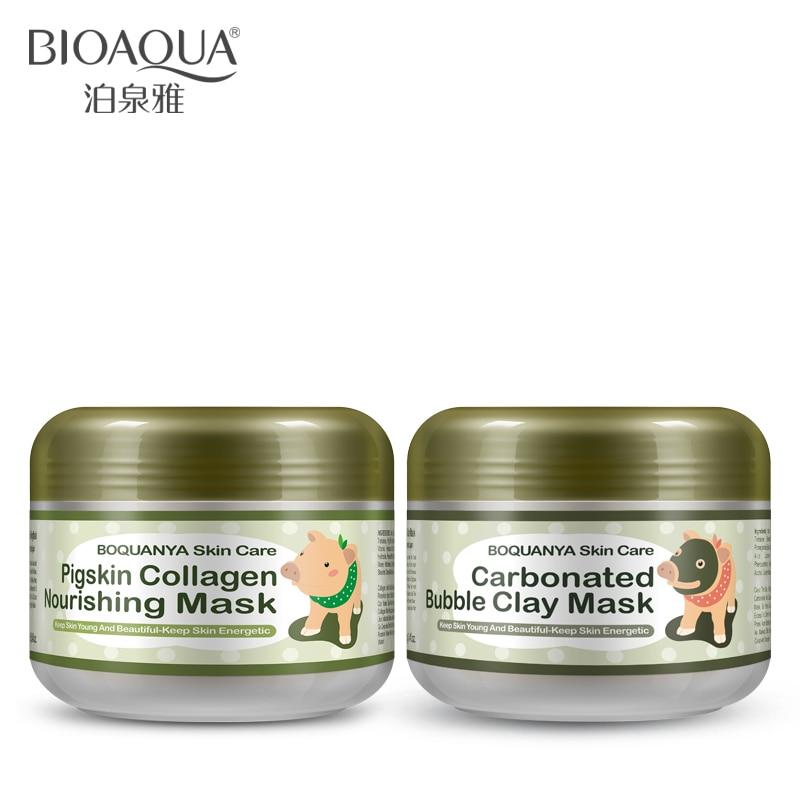 BIOAQUA 2 sztuk/partia mała świnia Pigskin kolagen odżywczy maska gazowana Bubble glina maska nawilżający rozjaśnić zestaw do pielęgnacji skóry