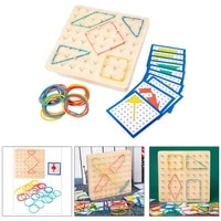 montessori toys kids creative graphics rubber tie nail boards wooden toys for preschool learning
