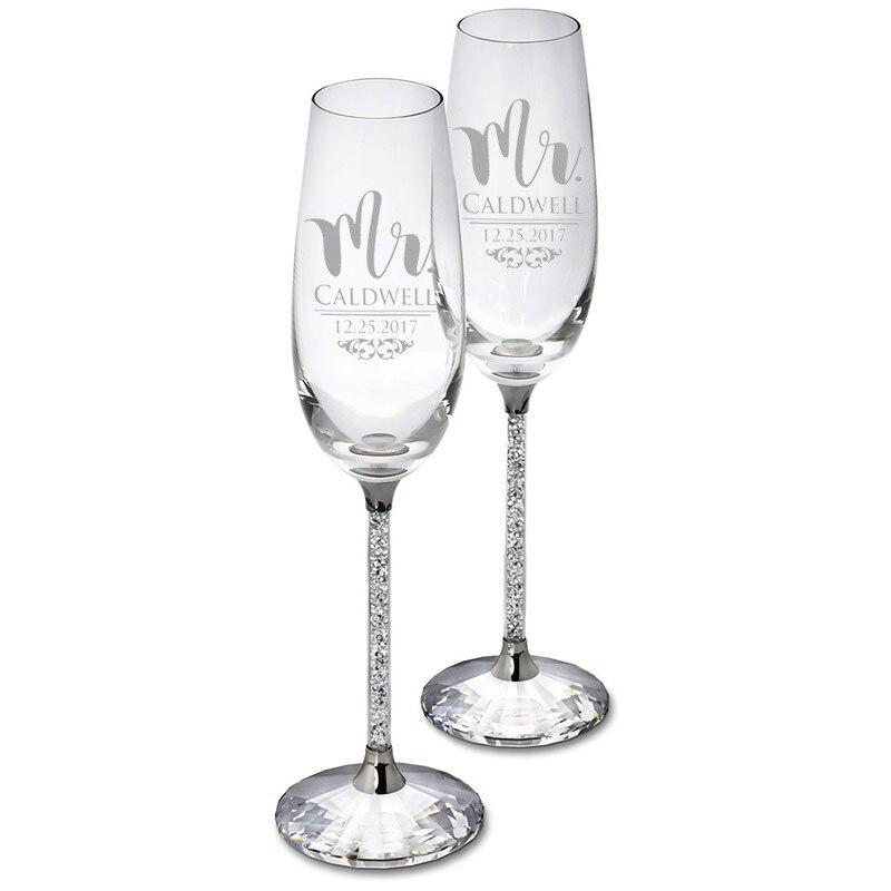 Vasos De boda personalizados con caja De regalo, Copas De champán, fiesta...