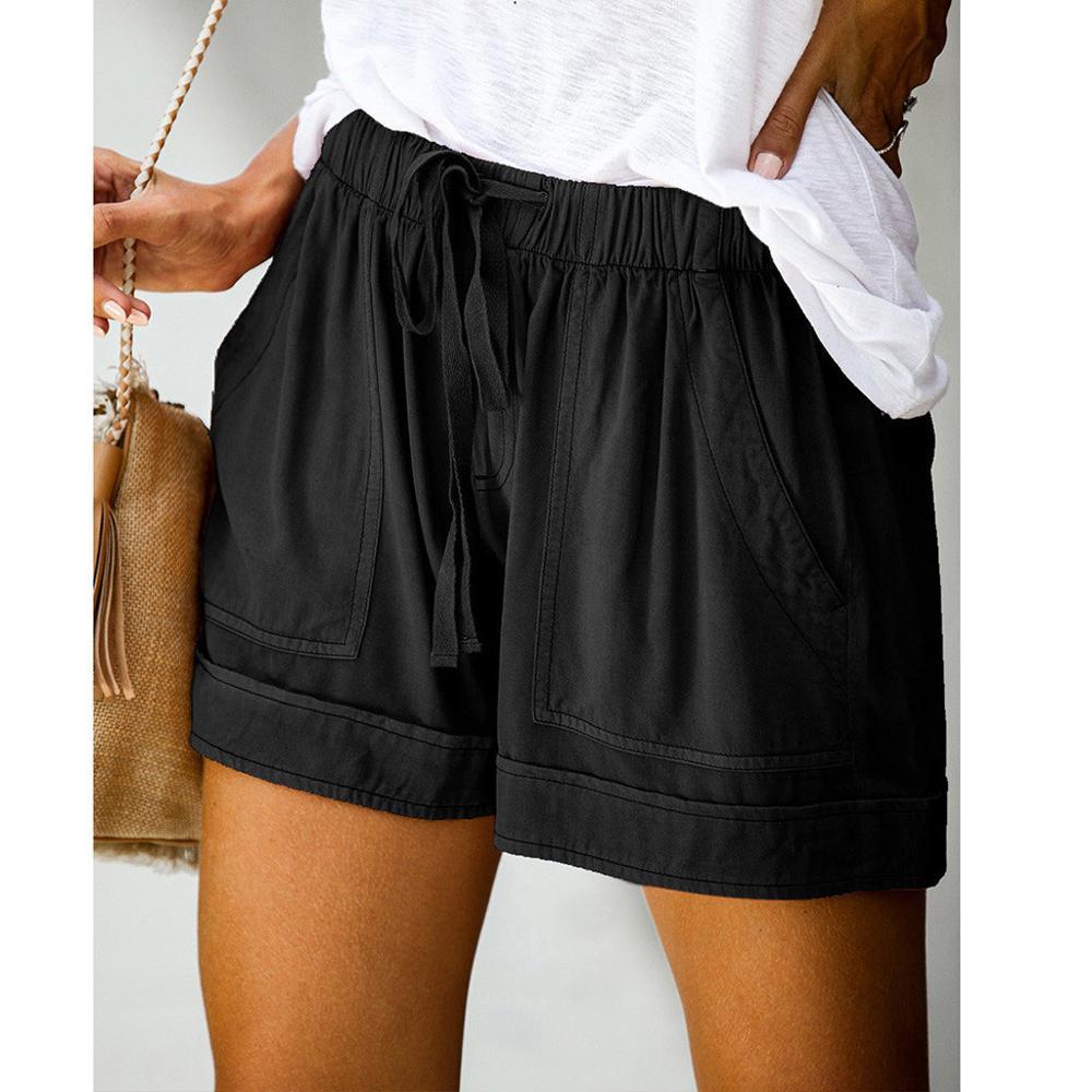 Pantalones cortos con cordón para mujer, cómodos pantalones cortos informales con empalme...