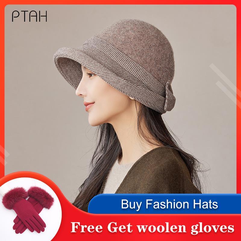 [PTAH] Зимние женские мягкие твидовые шляпы в британском стиле, винтажные церковные Панамы, темпераментные элегантные теплые мягкие шляпы для...