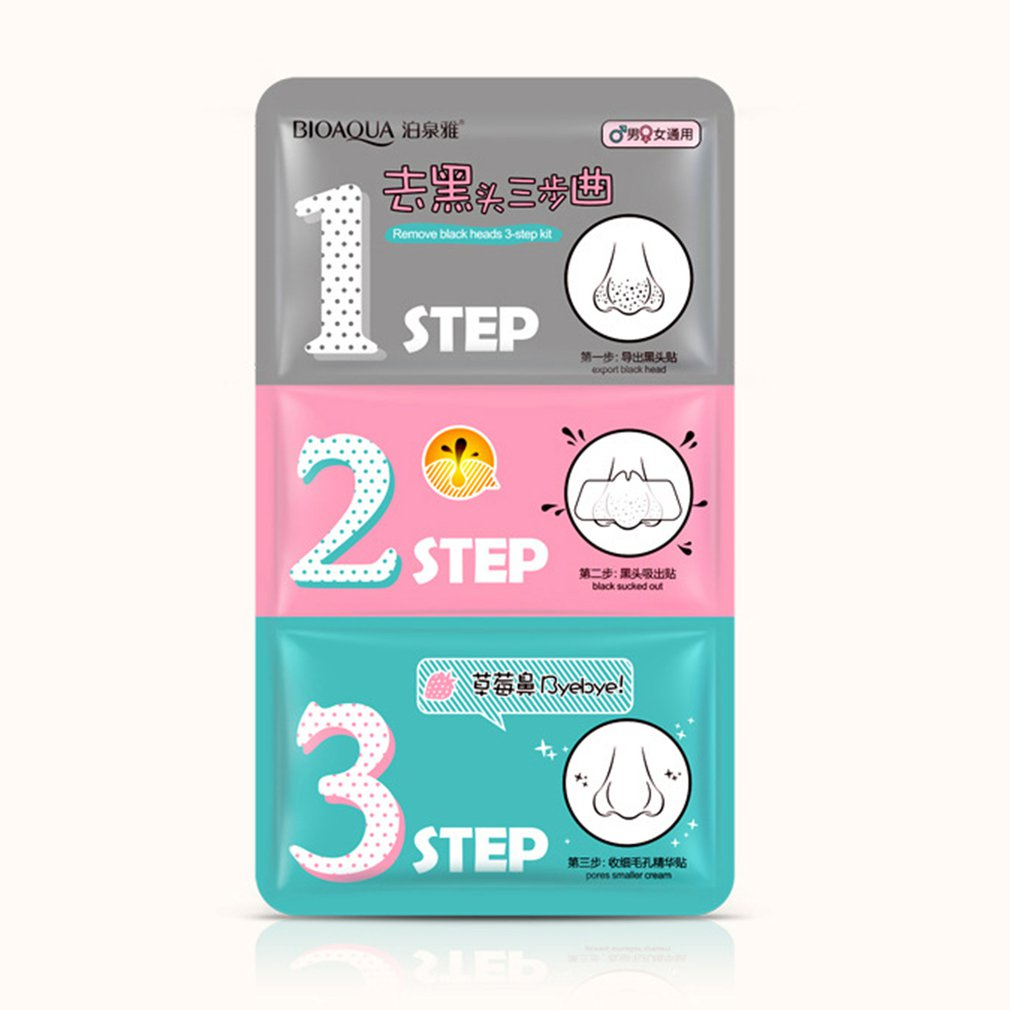 21ml Nose Mask Blackhead Acne Remover Three Steps Kit Nasal Stickers Shrink Pore Face Nose Clean Car