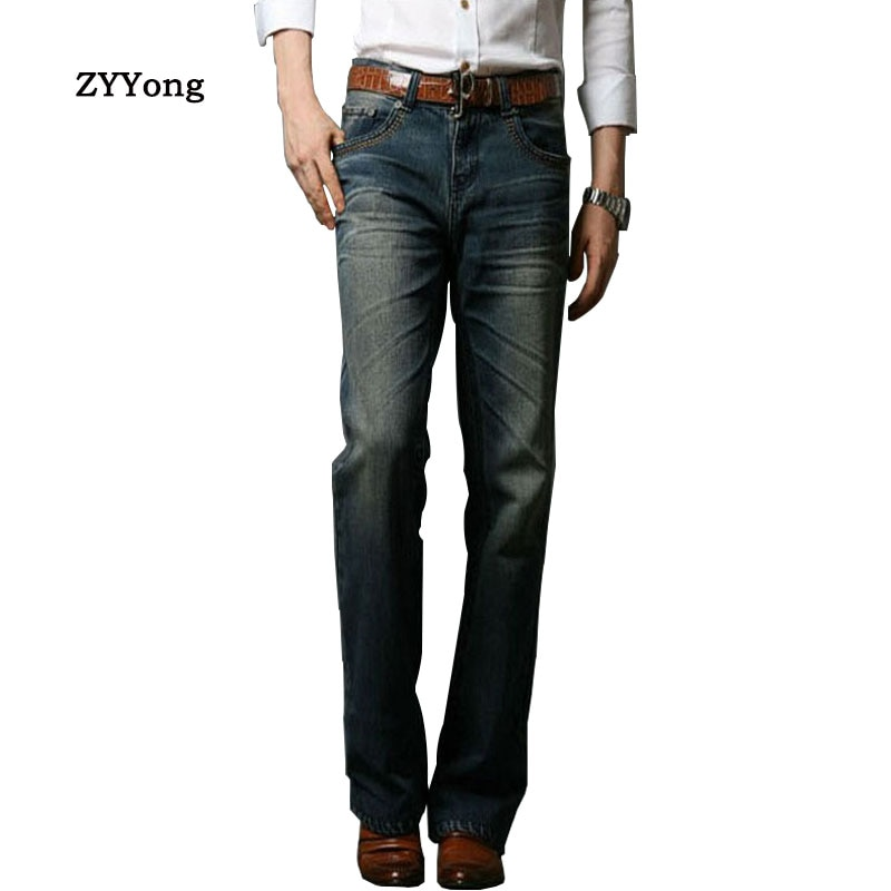 2020 Spring Mens Jeans Tradition Boot Cut Leg Fit Jeans Classic Denim Flare Retro Blue Jeans Male Fashion Pants Size 28-38 retro cut out plaid fit and flare dress