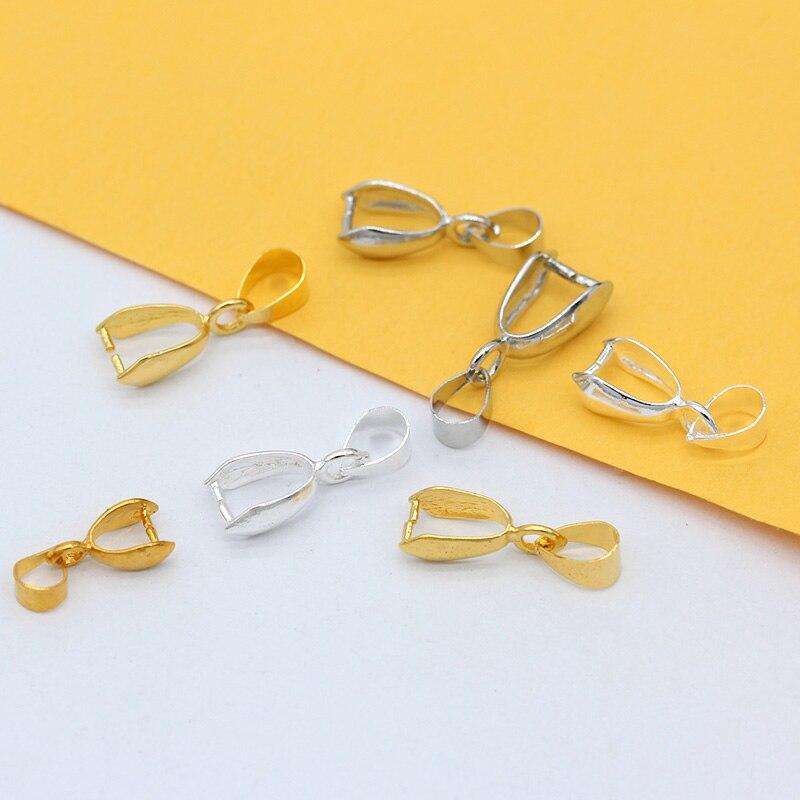 20p, 6x14mm, 6,5x18mm, 7,5x20mm, accesorios de cobre chapados en oro y plata, Conector de fijación, broche de pinza para balas, broche de joyería apto para cristal