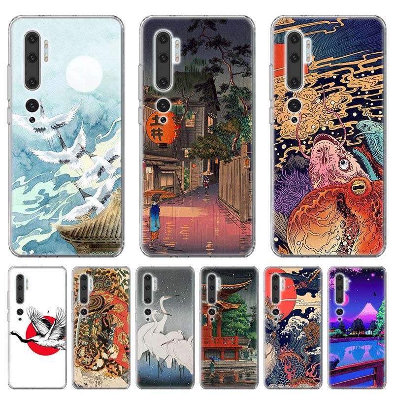 Funda de silicona para Xiaomi Mi nota 10 Pro 9 9T 9 Lite CC9 A1 A2 Lite A3 Poco X2 F2 Pro cubierta suave de estilo japonés arte Japón