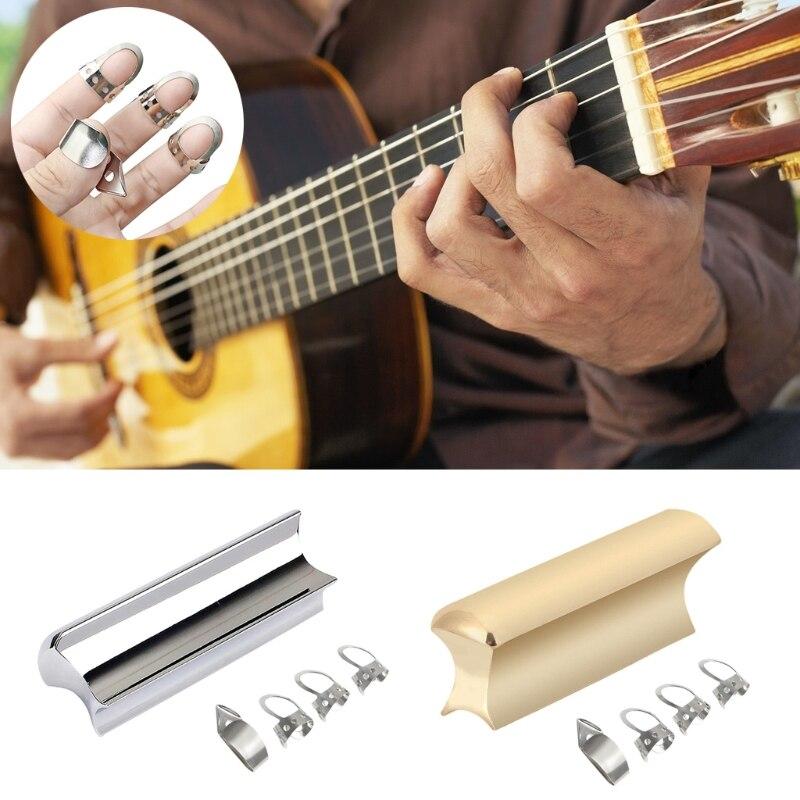 Электрическая гитара, круглая гитара из нержавеющей стали, горка для гитары Dobro, гавайская гитара, горка для тона, Золотая, серебряная