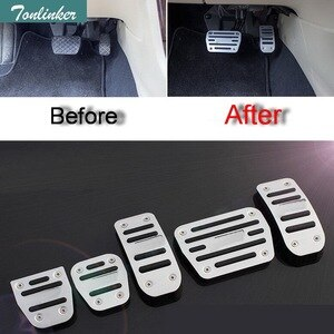 Tonlinker 2-3 pcs DIY New Aluminum Car styling AT and MT Modified Slip Pedals Cover Case Sticker For Volkswagen vw POLO Parts