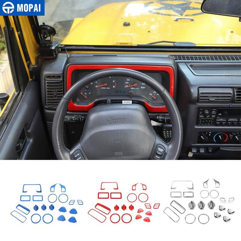 MOPAI Automotive Interior Stickers for Jeep Wrangler TJ 1997-2006 Car Interior Decoration Cover Kit Accessories for Jeep TJ