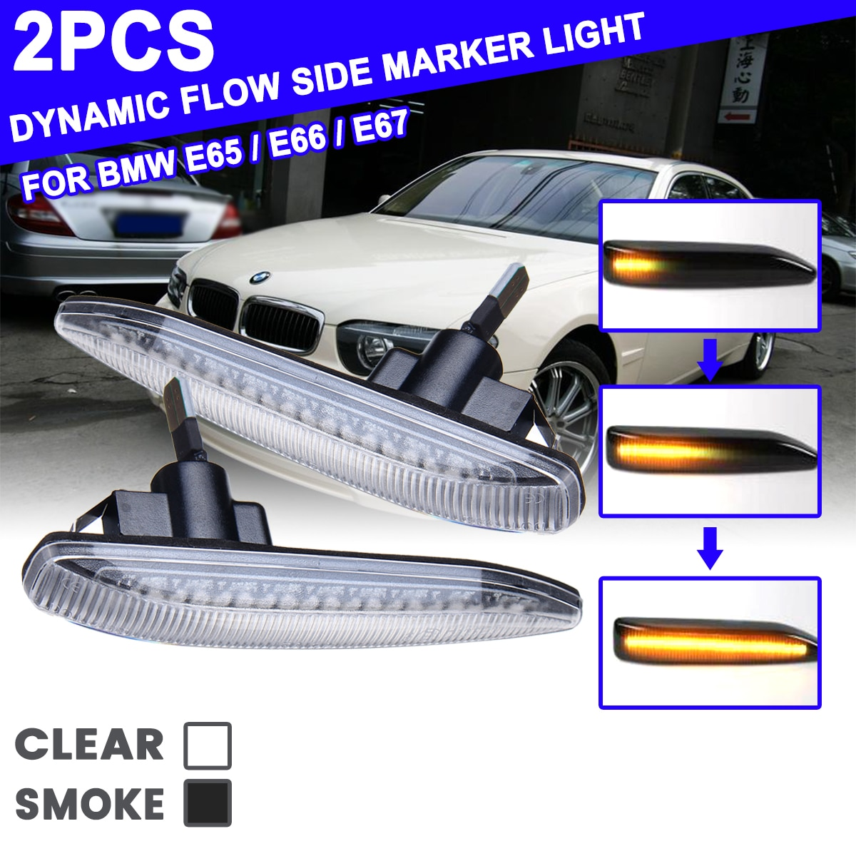 2Pcs for BMW 7 Series E65 E66 E67 E68 Flowing LED Side Marker Lights Dynamic Turn Signal Light Side Repeater Lamp Panel Lamp