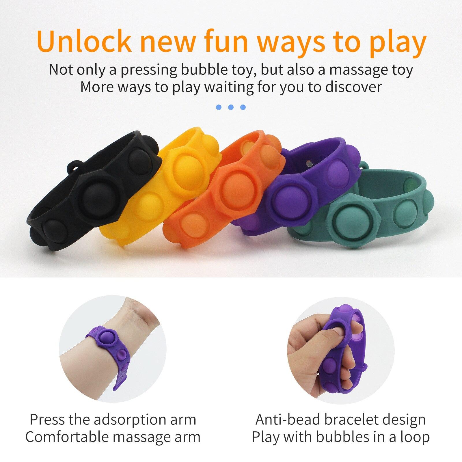 Montessori Popit Fidget Bracelet Dimple Dimple Fidget Toys Fat Brain Toys Push Stress Relief Hand Toys For Kids Adults enlarge