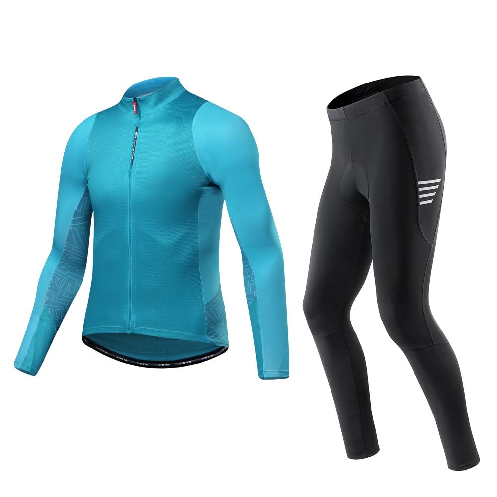 Santic, conjuntos de ciclismo para hombre, ropa deportiva de manga larga, Jersey, pantalones largos, conjunto de ropa, MTB, ropa para bicicleta de montaña
