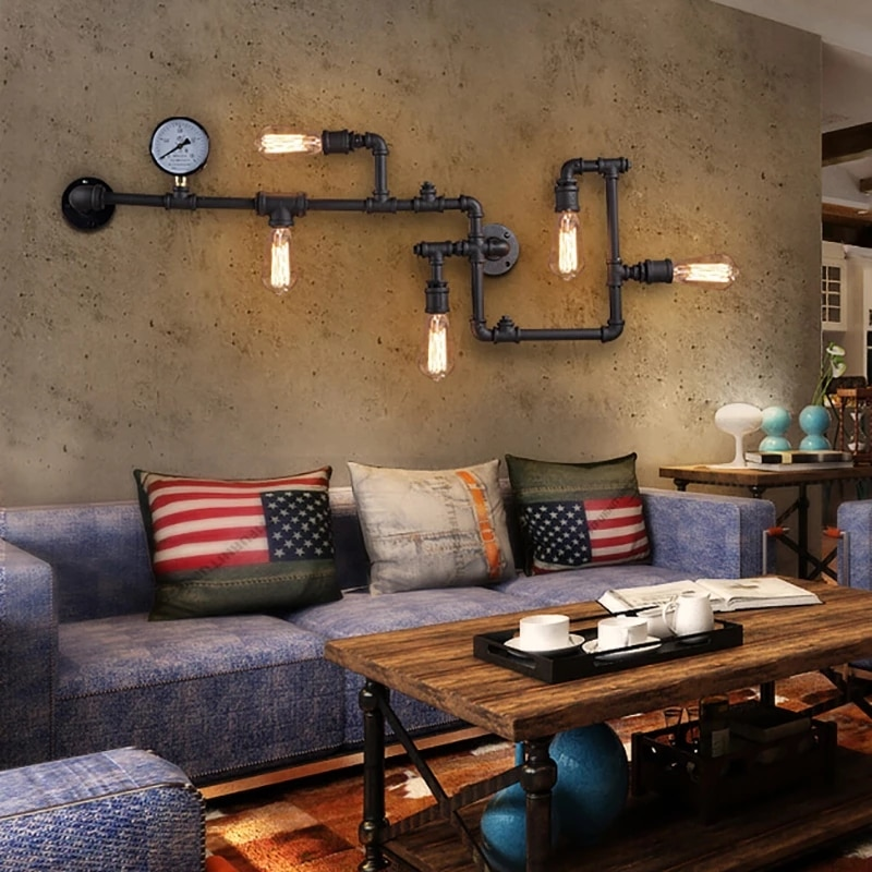 Винтажный настенный светильник в стиле ретро, настенный светильник в стиле лофт, индастриал, индивидуальная лампа для водопроводных труб, л...