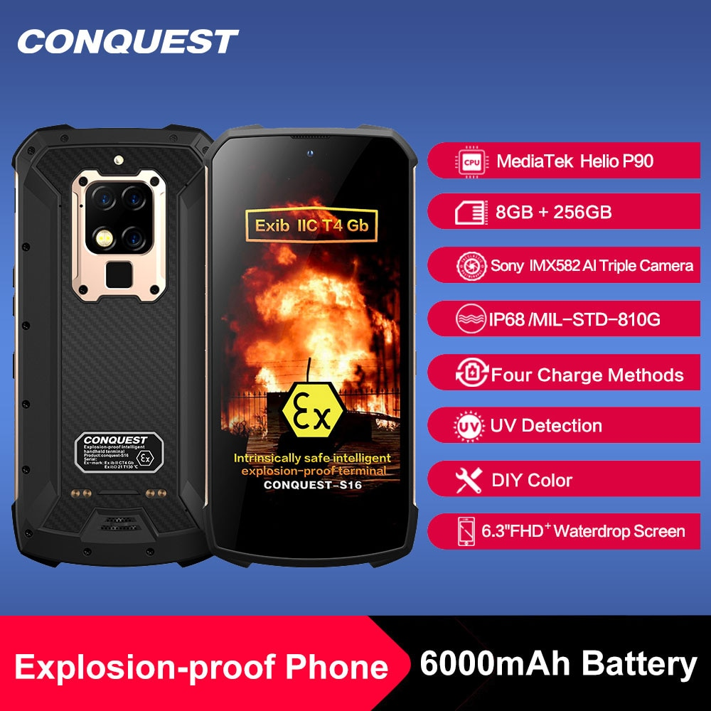2020 New CONQUEST S16 ATEX Explosion-proof Android Phone Rugged IP68 Waterproof NFC Smartphones IP68 Celular Cell phone Unlocked