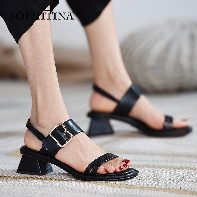 سوفيتينا المفتوحة تو الصنادل النسائية الرومانية مشبك أحذية كعب سميك انفجار نمط أنيقة مريحة الجلود أحذية نسائية AO690