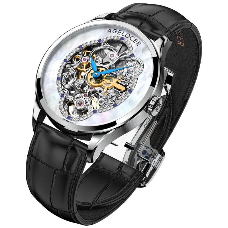 AGELOCER New Design Women Watches Luxury Skeleton Crystals Power Reserve 80H Blue Leather Automatic Mechanical Watch For Woman enlarge
