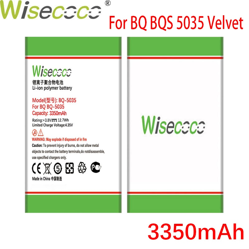 Wisecoco BQ5035 3350mAh Newly Produced Battery For BQ BQS 5035 Velvet Phone Battery Replacement + Tracking Number недорого
