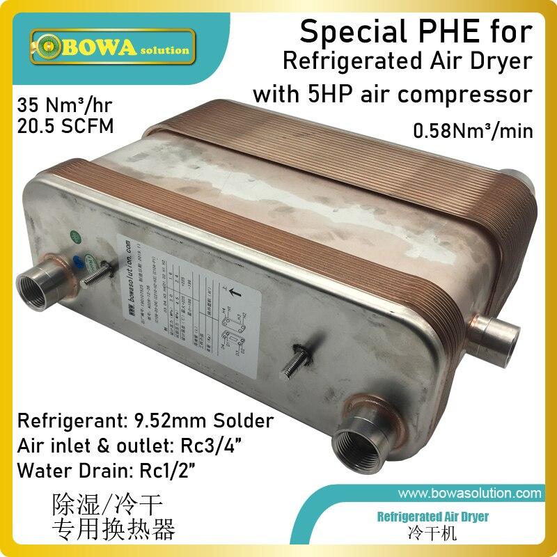 0.58Nm3/min płyta ze stali nierdzewnej wymiennik ciepła z chłodnicą wstępną i separatorem przeznaczony jest do osuszacz powietrza ze sprężarką powietrza 5HP