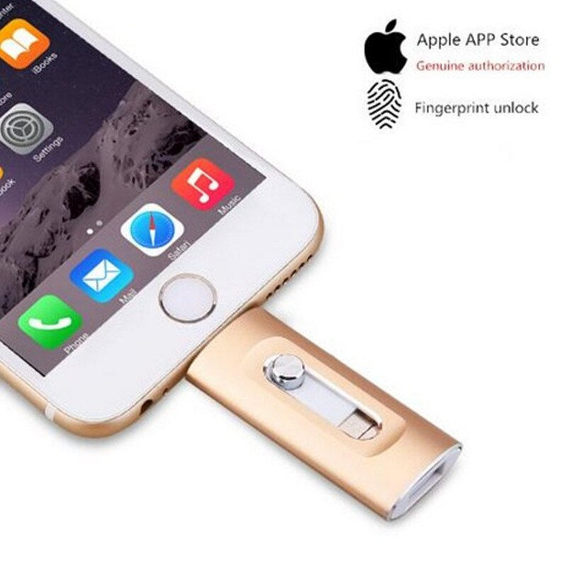 Metal OTG de unidades Flash USB 128GB para iPhone 6/iPhone 6 s/6/6 Plus/7/7 Plus/8/X/XS Macbook iPad Otg Lightning/3 en 1 Pen Drive para Android PC