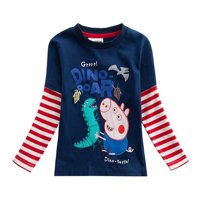 Original Peppa Pig Spring Autumn Cartoon Child Boy Long Sleeve T-shirt Height 80-130cm Page Dinosaur Embroidered