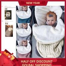 Sac de couchage pour bébé   Enveloppe dhiver pour bébés épaissi bébé Plus sac de couchage chaud en tricot pour poussette en laine