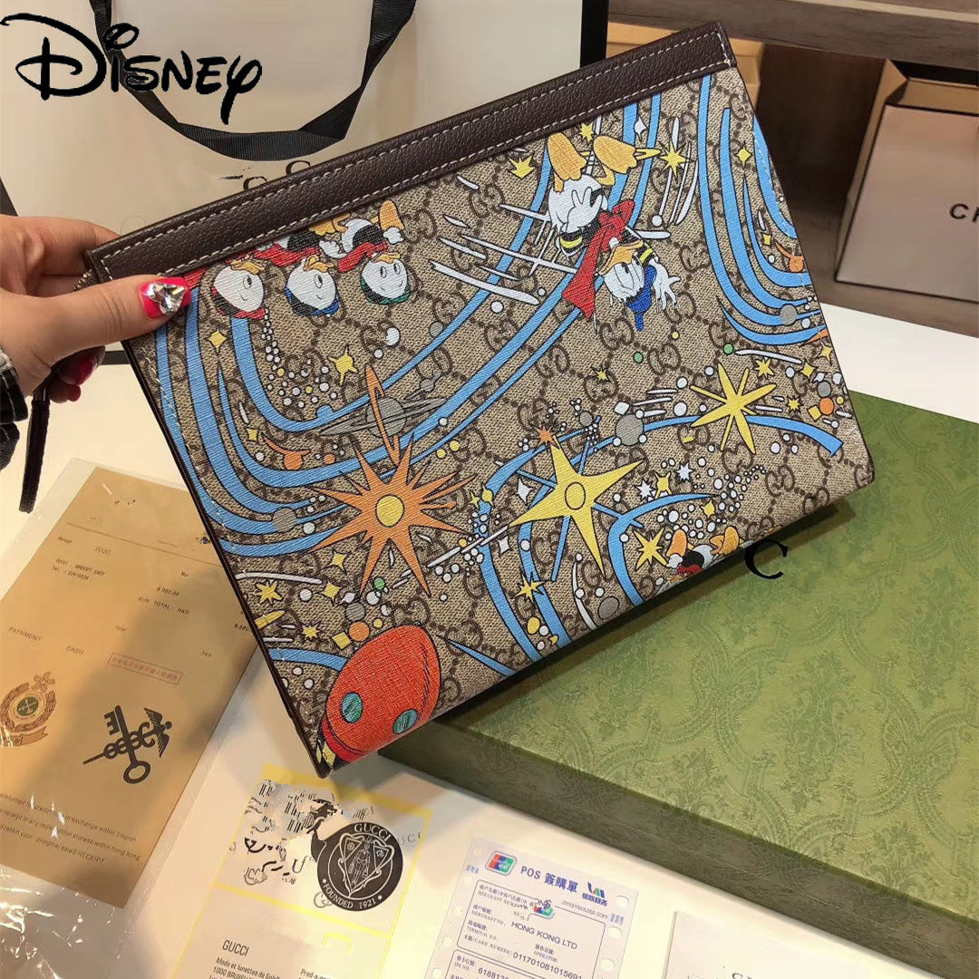 Disney Donald Duck Lady Simple Casual All-match Small Square Bag Cartoon Cute Printed Leather Zipper Clutch
