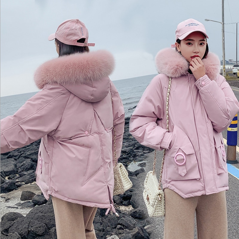 Women Fashion Short parkas winter Padded Jacket Coat Lady Leisure style Loose Jacket Pocket Hooded Warm Coat Chamarras De Mujer