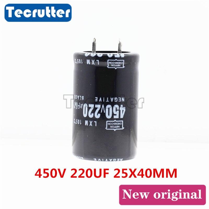 5 pces 450v 220uf capacitor eletrolítico 450v/220uf volume 25x40mm