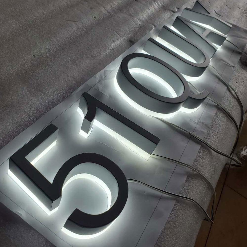 Raised Letter with Light Alphabet Sign Letters Led Channel Letter Metal Backlit Signage Storefront Corrosion-resistant