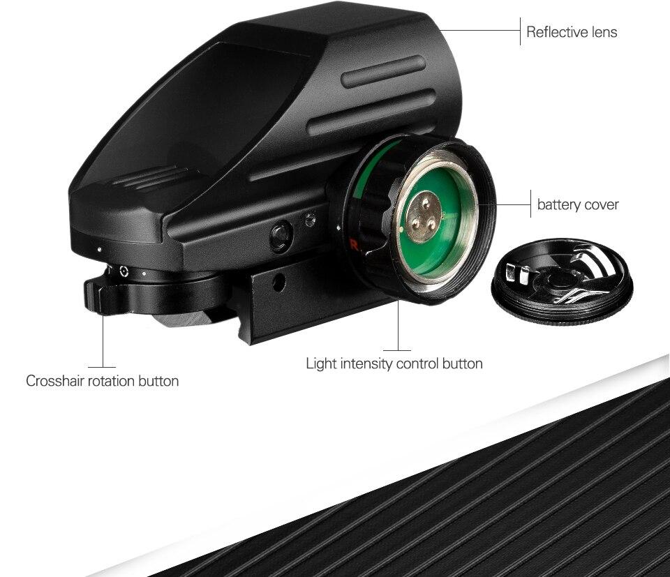 Réflex táctico, láser rojo verde, 4 retículas, mira telescópica de punto proyectado, mira telescópica, mira telescópica de caza, montaje AK