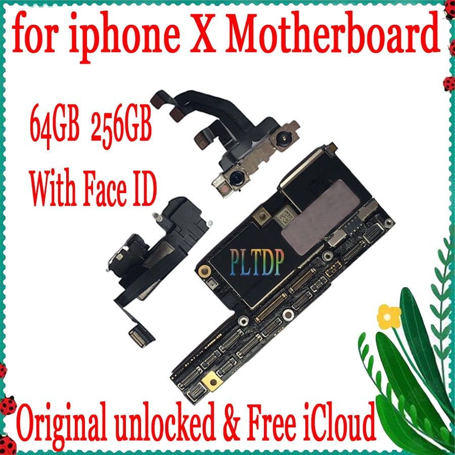 Placa base Original para iPhone X desbloqueada de fábrica con ID facial/sin ID facial IOS Update Suppor MB Plate 64GB 256GB