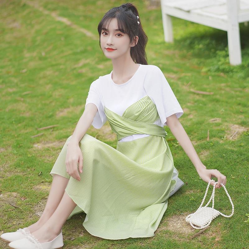 Chic Khaki 2020 New Student Stitching Plaid Dress Waist Trimming Short-Sleeved T-shirt Skirt Fake Tw