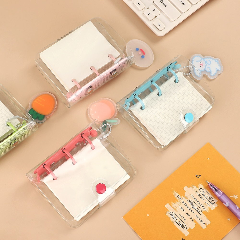 JIANWU Creative Cute Transparent 3 ring Mini Loose-leaf Hand Book Student Portable Notebook ring binder Kawaii School Supplies